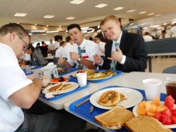 Breakfast at the CCM/MTC. L-R Elders Erasmus, Smith (comp), and Miklich
