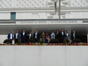 At the Mexico City Temple - Tate 3rd from left - companion Elder Smith 4th from left