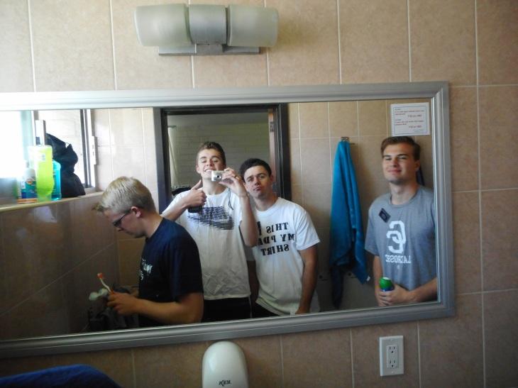 Roomies in the bathroom