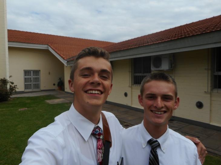 Tate and Mathias outside chapel
