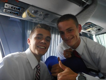 Tate and Mathias on the bus to zone conference in Pergamino