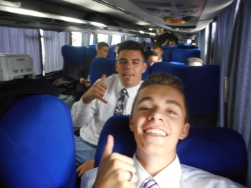 Sovereign (ZL) and Tate on the bus to zone conference in Pergamino