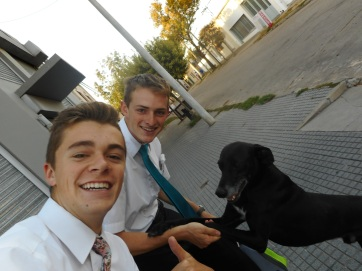 Tate, Mathias, and Dave the Dog